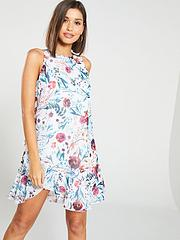 772e14b95edb Little Mistress Floral Print Chiffon Ruffle Mini Dress - Multi