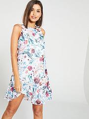 7aba3e11f026 Little Mistress Floral Print Chiffon Ruffle Mini Dress - Multi