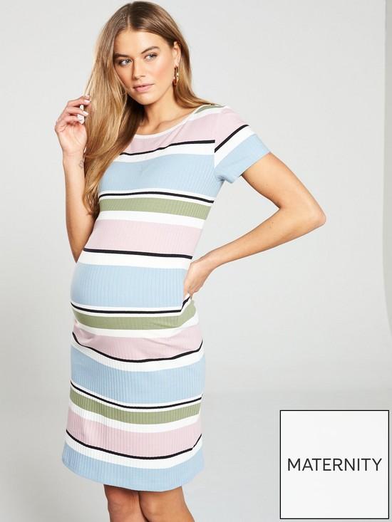 27291bf8deee2 Mama-Licious Mamalicious maternity Jersey Striped Ribbed Colour block Dress  | very.co.uk