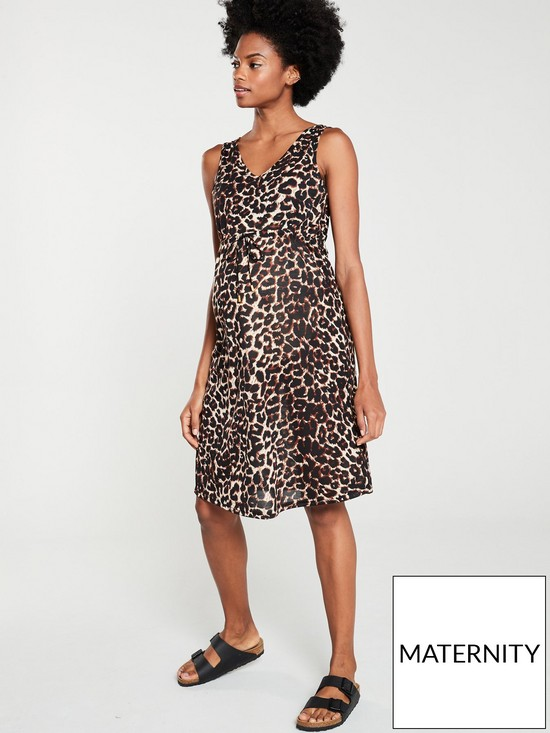 254709f04dec Mama-Licious Maternity Jersey Leopard Dress - Brown | very.co.uk