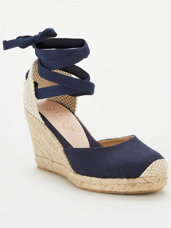 6c81a8cd74c Wide Fit Marmalade Wedge Sandals - Navy