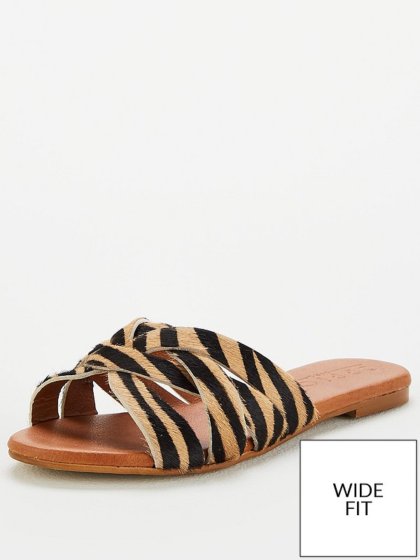 clearance prices new styles new photos OFFICE Wide Fit Saffron Flat Sandals - Tiger Print | very.co.uk