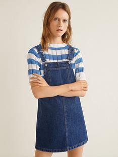 8d7209ab4a9 Mango Denim Dungaree Pinny Dress - Dark Blue