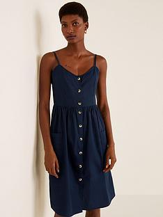 f28e8d2ef3 Mango Cotton Button Through Cami Dress - Dark Navy