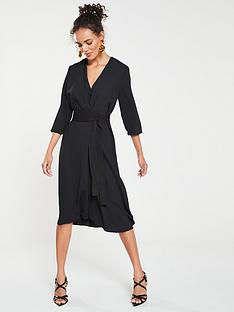 1f8ba67c3f Mango Satin Tie Waist Dress - Black