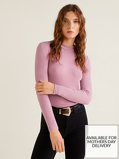 mango-ribbed-jersey-long-sleeve-top-pink