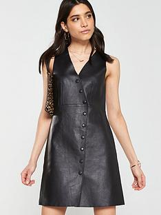 26e8f2555cc Mango Leather Pinny Dress - Black