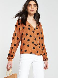 17314534a78c4b Mango Polka Dot Blouse - Brown