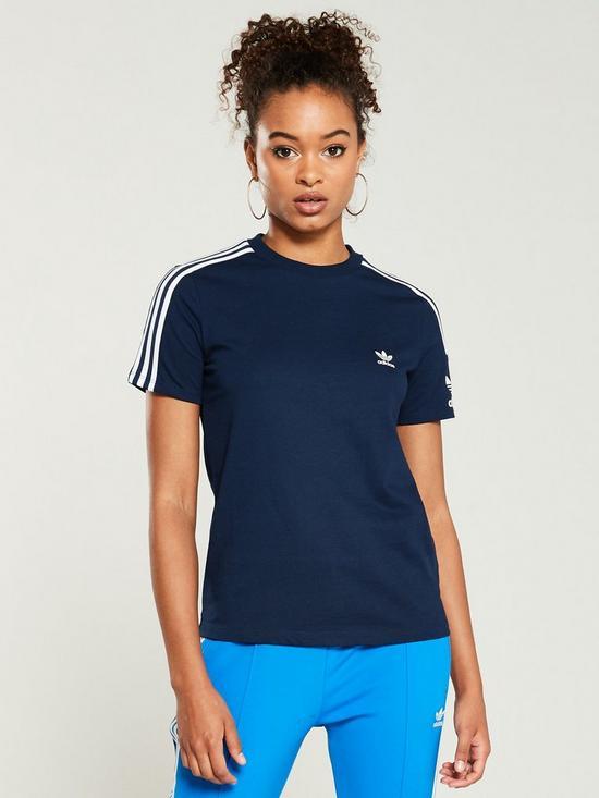 adidas Originals 3 Stripes Lock Up T Shirt Navy Womens
