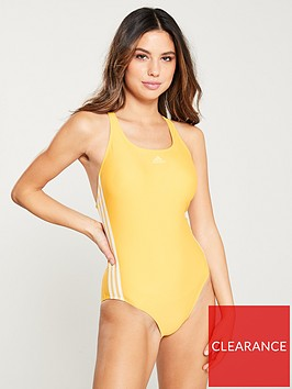 adidas-fit-3-stripe-swimsuit-yellow