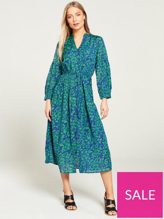 7a9eeba188ca WHISTLES Valeria Henna Print Shirt Dress - Green Multi | very.co.uk