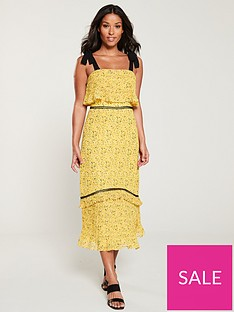 whistles-ditsy-blossom-pleated-tiered-dress-yellowmulti