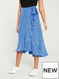 whistles-lunar-spot-wrap-skirt-blue