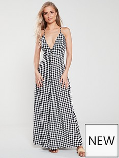 v-by-very-button-front-ginghamnbspv-neck-maxi-dress-gingham