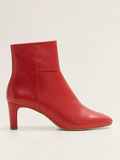 3ac522e1d5f5 Mango Leather Ankle Boots - Red