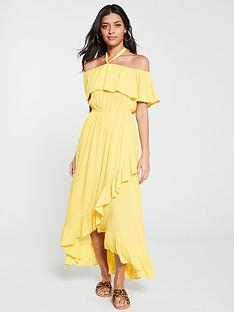0860b9ddbd V by Very Bardot Halter Crinkle Rayon Maxi Dress - Yellow