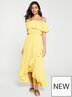 bc34edf78017 V by Very Bardot Halter Crinkle Rayon Maxi Dress - Yellow