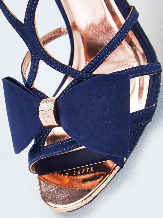 55accd6c60f ... Ted Baker Arayi Bow Heeled Sandals - Navy. View larger