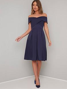 46d995e8eff Chi Chi London Bay Bardot Full Skirt Dress - Navy