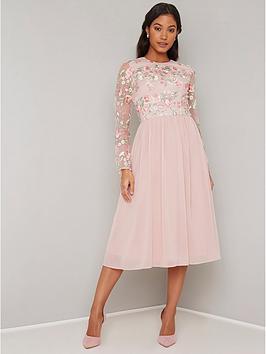 chi-chi-london-bee-long-sleeve-crochet-top-dress-multi