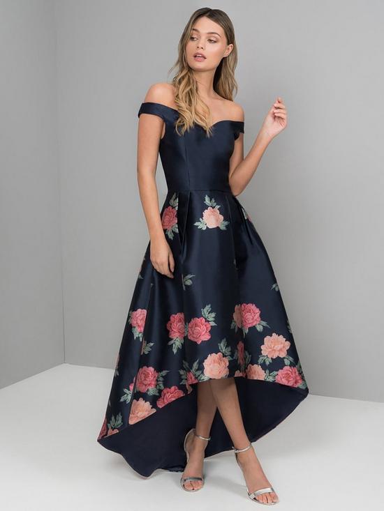 5762599538 Chi Chi London Hazel Bardot High Low Dipped Hem Dress - Navy   very ...