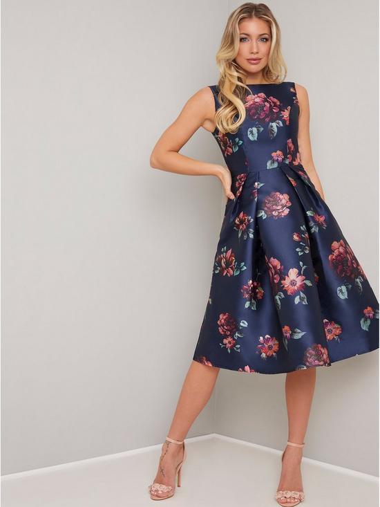 1bde3f1f1d Chi Chi London Mindy Floral Print Midi Dress - Navy   very.co.uk