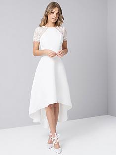 ba26d922b127 Chi Chi London Meara Lace Sleeve High Low Hem Dress - White