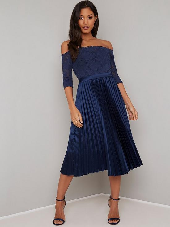 008ca692b5fb9 Chi Chi London Lesli Lace Top Pleated Skirt Midi Dress - Navy | very ...