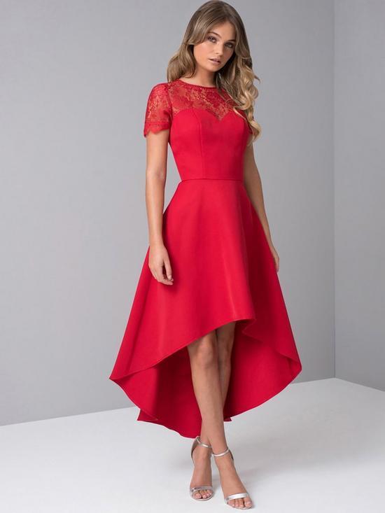 8a542fe40ad4 Chi Chi London Oti Lace Back High Low Midi Dress - Red