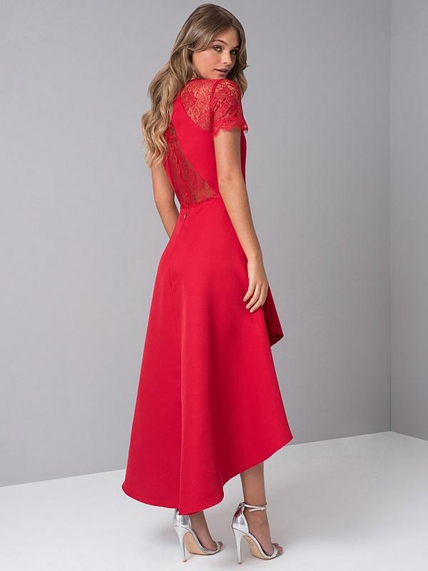 Oti Lace Back High Low Midi Dress Red
