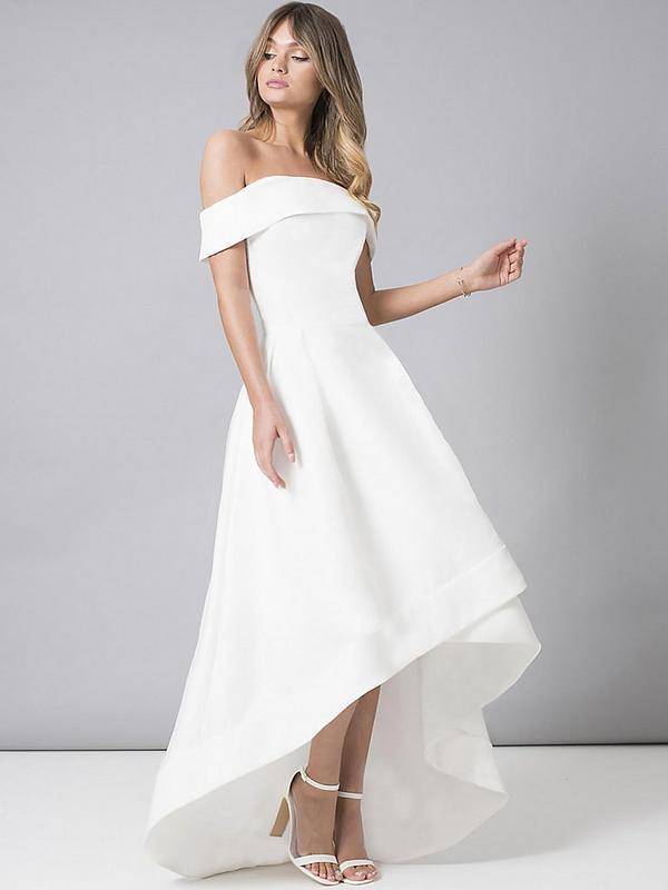 Bridal Meryl Bardot Dip Hem Midi Dress White