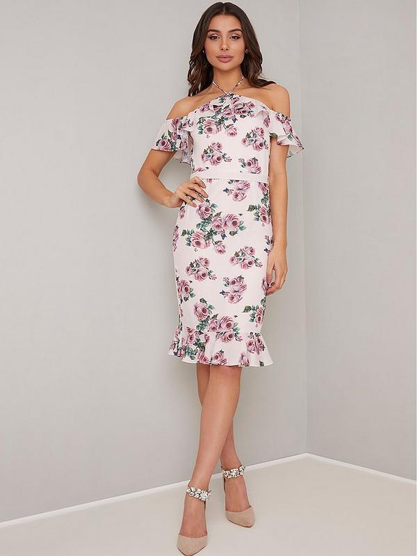 88e1535dbd32eb Chi Chi London Russa Floral Print Cold Shoulder Midi Dress - Pink ...