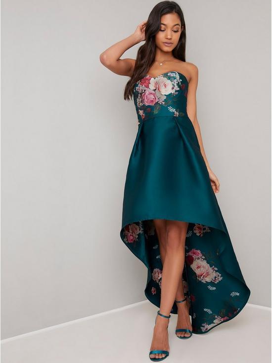 62ac1cf8590 Chi Chi London Brie Strapless Printed Dip Hem Dress - Teal