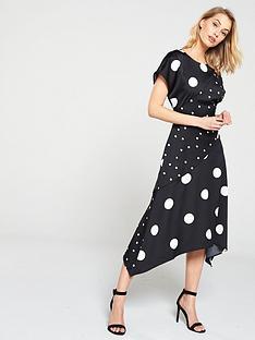 4c7a97ada3 Warehouse Spot Hanky Hem Dress - Black
