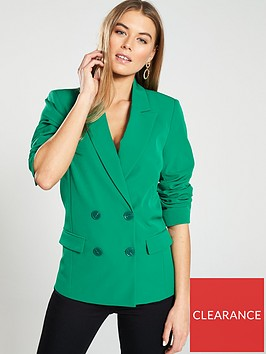 warehouse-double-breasted-smart-blazer-green