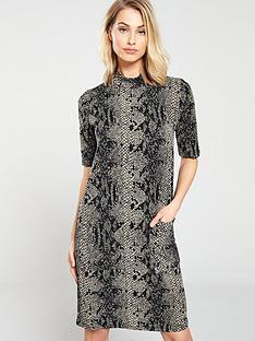 1ebb2cdc30e Warehouse Snake Print Pocket Jersey Dress - Brown