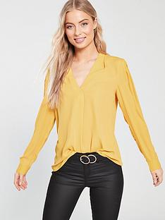 warehouse-v-neck-pleat-top-yellow