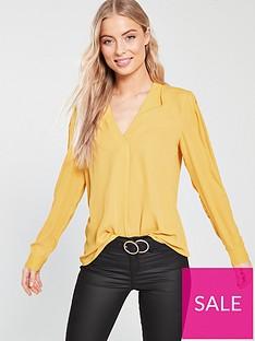 warehouse-v-neck-pleat-top-yellow