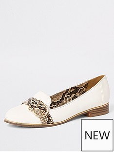 a8621a9644b6 River Island River Island Snake Print Contrast Loafer - White