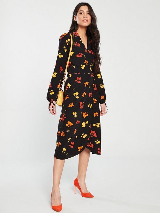 1ad956bbb836 Warehouse Sunset Floral Wrap Midi Dress - Multi