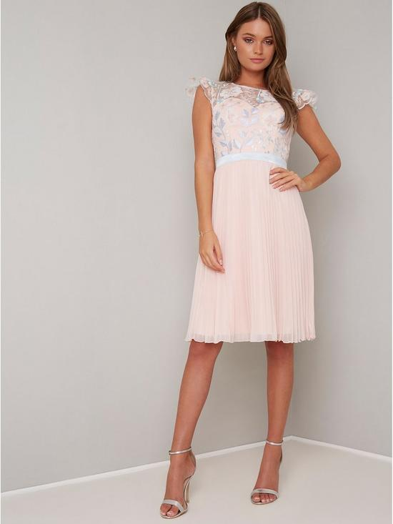 94628373a09 Chi Chi London Anabella Crochet Top Pleated Skirt Dress - Nude ...