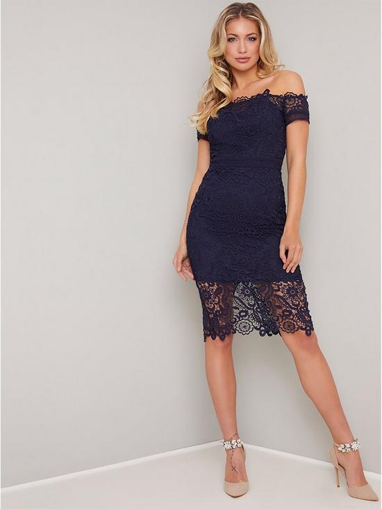 c0b8c18d7e17 Chi Chi London Ariella Bardot Lace Midi Dress - Navy   very.co.uk