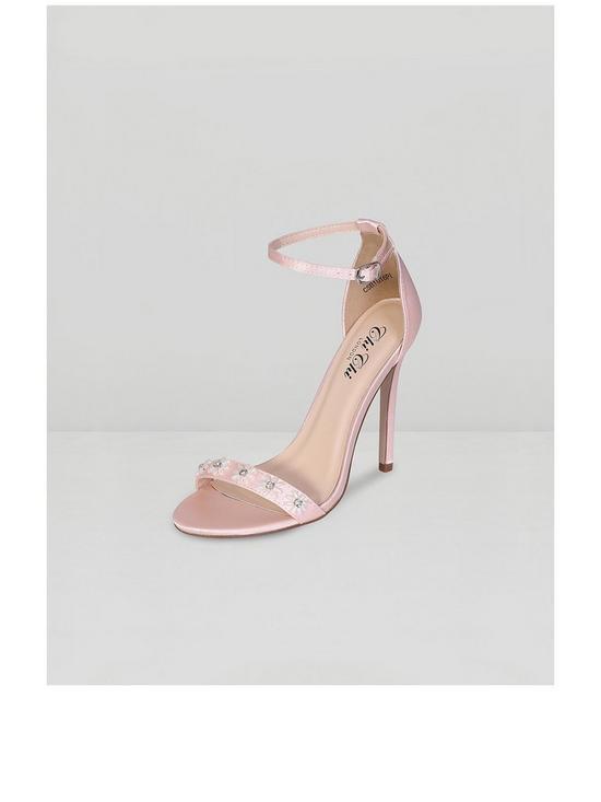 01d05fd3e Chi Chi London Leilani Beaded Floral Sandal Stiletto Heels - Nude ...