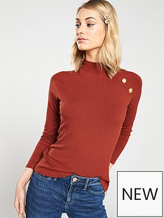 v-by-very-button-detail-rib-top-rust