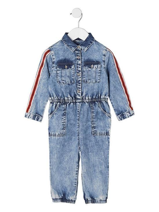 2968865b362f River Island Mini Mini girls blue acid wash denim jumpsuit