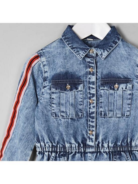 b83b209bdeaf ... River Island Mini Mini girls blue acid wash denim jumpsuit. View larger