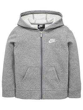 nike-younger-child-club-full-zip-hoodie-dark-grey