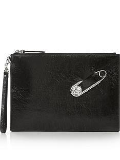 versus-versace-safety-pin-clutch-bag-black