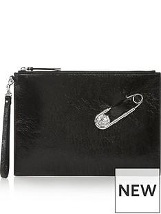 versus-versace-safety-pin-clutch-bag-black