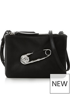 versus-versace-safety-pin-cross-body-clutch-bag-black